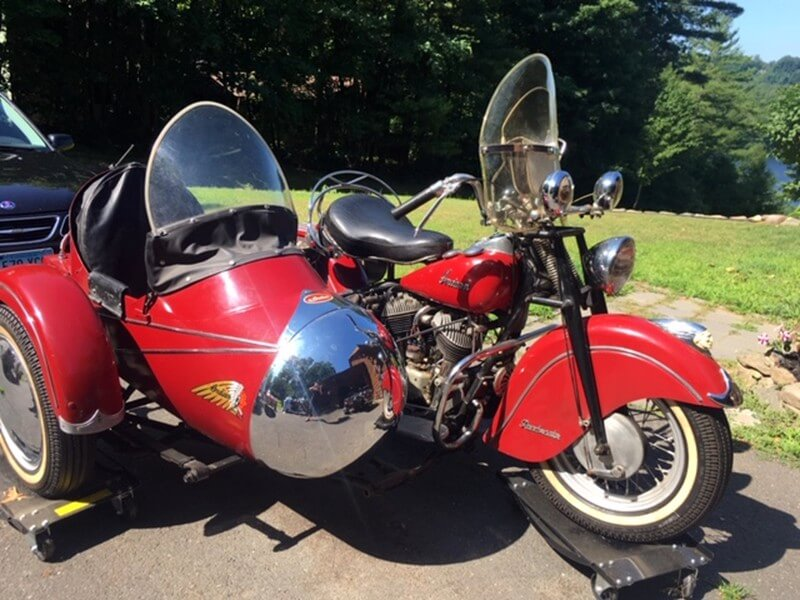 1947 Indian Chief Roadmaster w/ Goulding Chrome Nose Sidecar