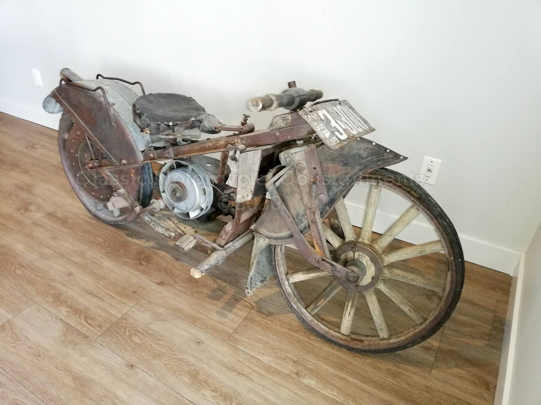 1910s One-of-a-Kind Custom Wood Motorcycle